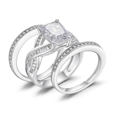 Emerald Cut White Sapphire 925 Sterling Silver Women's Bridal Ring Set
