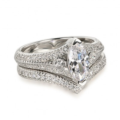 Marquise Cut White Sapphire 925 Sterling Silver 3-Stone Ring Sets