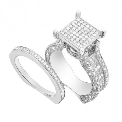 Round Cut White Sapphire Sterling Silver Wedding Bridal Sets