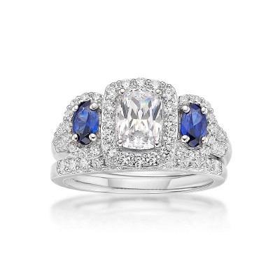 Radiant Cut White & Blue Sapphire Sterling Silver 3-Stone Bridal Sets