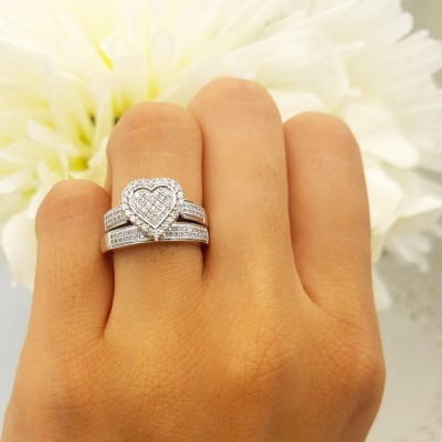 Heart Shape Round Cut White Sapphire Sterling Silver Halo Wedding Ring Sets