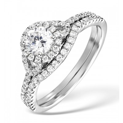 Round Cut White Sapphire Sterling Silver Halo Wedding Ring Sets