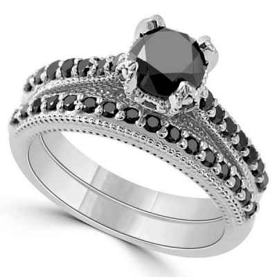 Vintage Round Cut Black Sapphire 925 Sterling Silver Bridal Sets