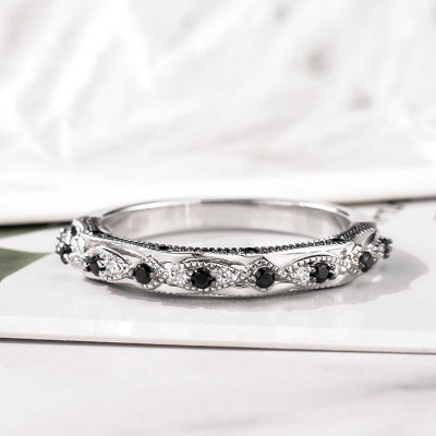 Dainty Art Deco Black Sapphire 925 Sterling Silver Women's Wedding Band