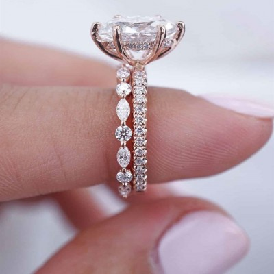 Rose Gold Marquise Cut White Sapphire Sterling Silver 2 Pieces Bridal Sets