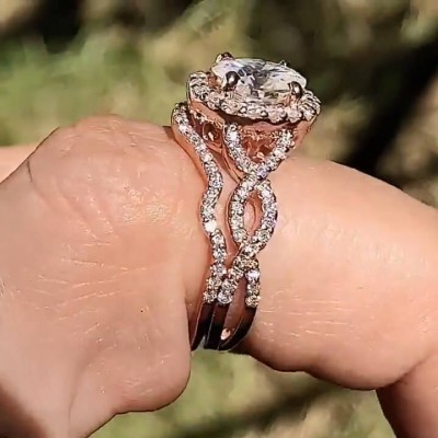 Rose Gold Oval Cut White Sapphire 925 Sterling Silver Twisted 2 Pieces Halo Bridal Sets