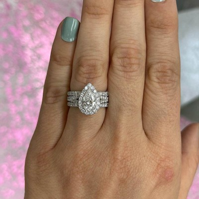 Pear Cut White Sapphire 925 Sterling Silver Halo 3-Piece Bridal Sets