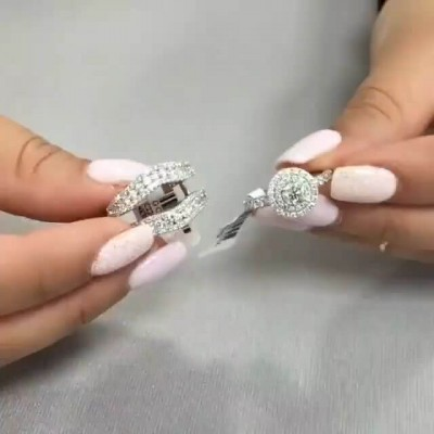 Unique Round Cut White Sapphire 925 Sterling Silver Insert Double Halo Bridal Sets