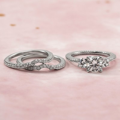 Round Cut White Sapphire 925 Sterling Silver Three Stones 3-Piece Matching Bridal Sets