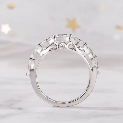 Marquise Cut White Sapphire 925 Sterling Silver Half Eternity Wedding Band