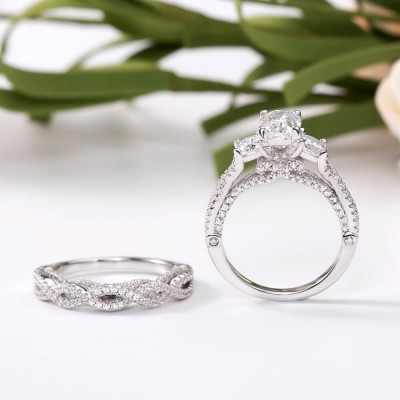 Radiant Cut White Sapphire Sterling Silver Three-Stone Bridal Sets