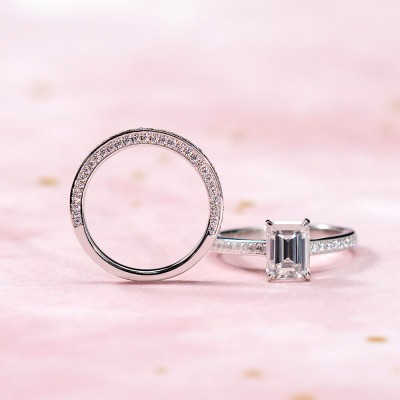 Emerald Cut White Sapphire 925 Sterling Silver Solitaire Bridal Sets For Women