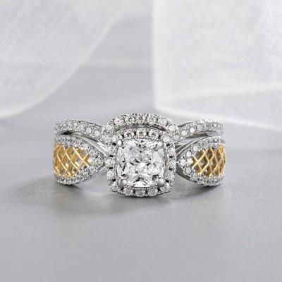 Cushion Cut White Sapphire Sterling Silver Two-Tone Halo Bridal Sets