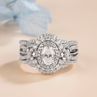 Oval Cut White Sapphire 925 Sterling Silver Flower 3-Piece Halo Bridal Sets