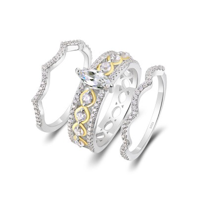 Marquise Cut White Sapphire Two-Tone 925 Sterling Silver 3 Pieces Bridal Sets
