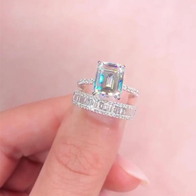 Emerald Cut White Sapphire 925 Sterling Silver Classic Bridal Sets