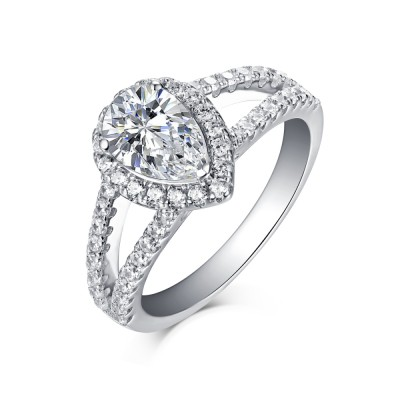 Pear Cut 925 Sterling Silver Halo White Sapphire Engagement Rings