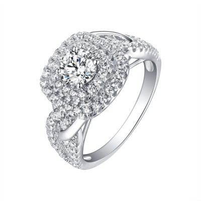 Round Cut 925 Sterling Silver White Sapphire Halo Engagement Rings