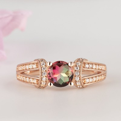 Elegant Rose Gold Round Cut Watermelon 925 Sterling Silver Engagement Ring