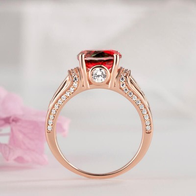 Rose Gold Round Cut Watermelon 925 Sterling Silver Engagement Ring