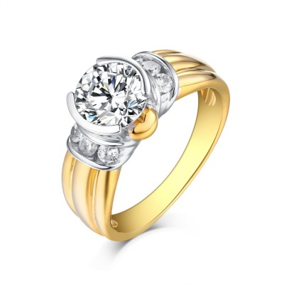 Round Cut Gold S925 Silver White Sapphire Classic Engagement Rings