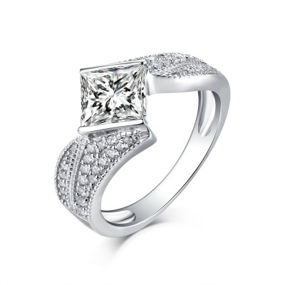 Princess Cut S925 Silver White Sapphire Art Deco Engagement Rings