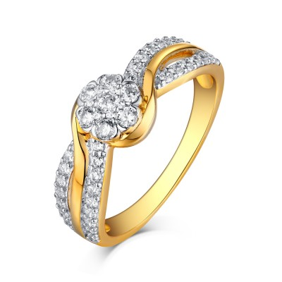 Round Cut Gold S925 Silver White Sapphire Halo Engagement Rings