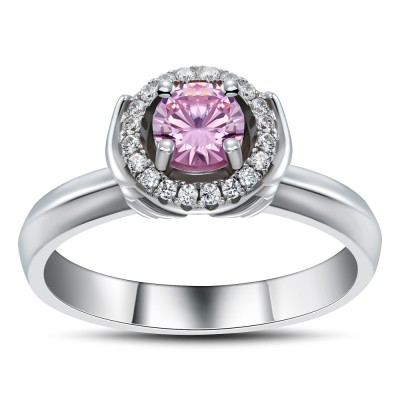 Round Cut Pink Sapphire 925 Sterling Silver Cocktail Ring