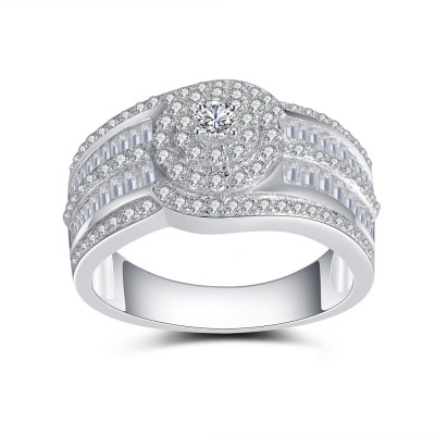 Magic Round Cut White Sapphire 925 Sterling Silver Engagement Ring