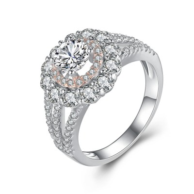 Gorgeous Round Cut White Sapphire 925 Sterling Silver Women's Engagement Ring