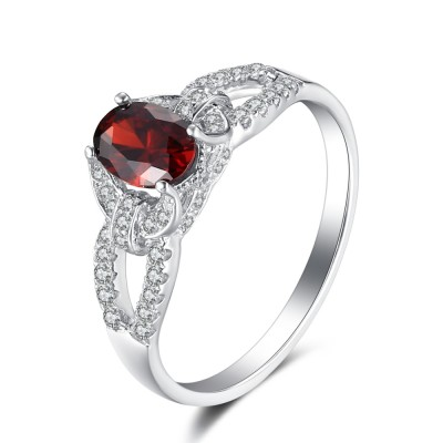 Oval Cut Ruby 925 Sterling Silver Birthstone Rings