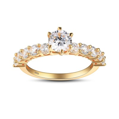 Round Cut White Sapphire Gold 925 Sterling Silver Engagement Ring
