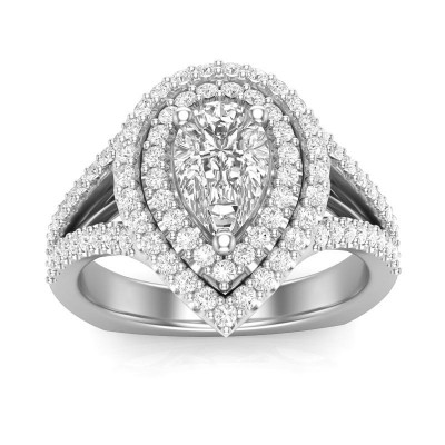 Pear Cut White Sapphire Sterling Silver Double Halo Engagement Ring