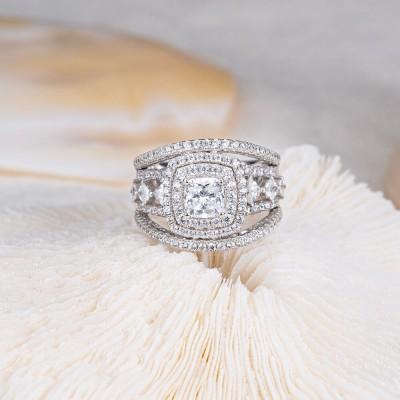 Cushion Cut White Sapphire Sterling Silver Split Shank Enhanced Halo Engagement Ring