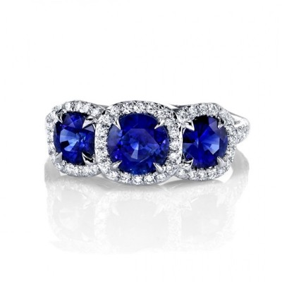 Round Cut Blue Sapphire Sterling Silver 3-Stone Engagement Ring