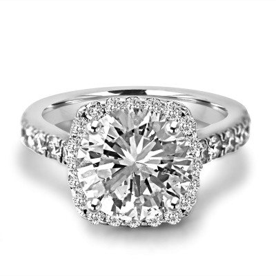 Round Cut White Sapphire Sterling Silver Halo Engagement Ring