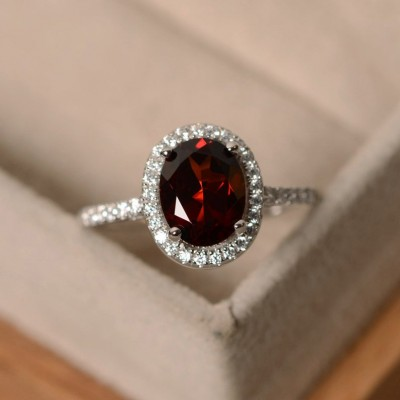 Vintage Oval Cut Garnet 925 Sterling Silver Halo Engagement Ring