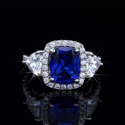 Cushion Cut Blue Sapphire 925 Sterling Silver 3-Stone Trio Engagement Ring