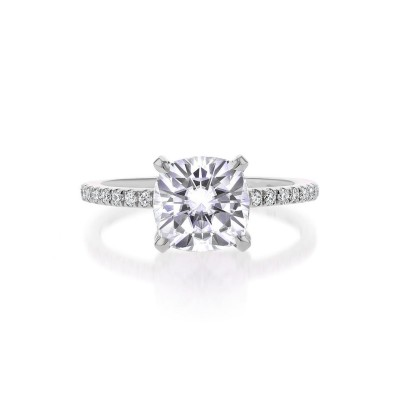 Cushion Cut White Sapphire Sterling Silver Solitaire Engagement Ring