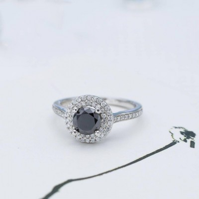 Round Cut Black Sapphire 925 Sterling Silver Double Halo Engagement Ring