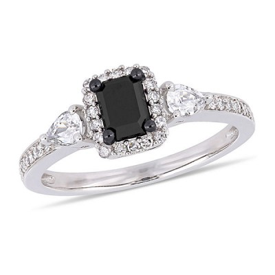 Emerald Cut Black Sapphire 925 Sterling Silver Halo 3-Stone Engagement Ring