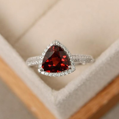 Trillion Cut Garnet Sterling Silver Halo Engagement Ring