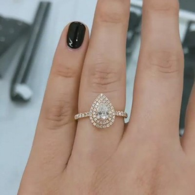 Rose Gold Pear Cut White Sapphire 925 Sterling Silver Double Halo Engagement Ring