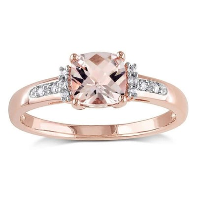 Rose Gold Cushion Cut Champagne 925 Sterling Silver Engagement Ring