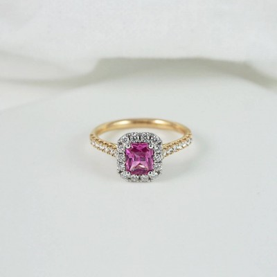 Gold Emerald Cut Pink Sapphire Sterling Silver Halo Engagement Ring