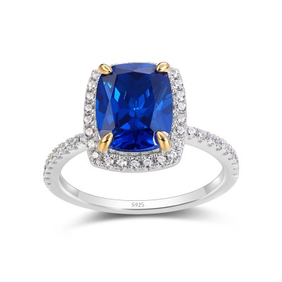 Radiant Cut Blue Sapphire Sterling Silver Double Halo Engagement Ring