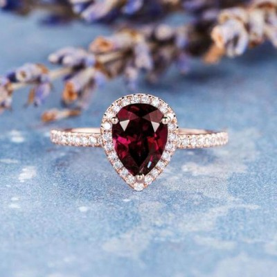 Rose Gold Pear Cut Ruby 925 Sterling Silver Halo Engagement Ring