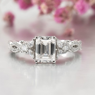 Emerald Cut White Sapphire 925 Sterling Silver Twisted Engagement Ring