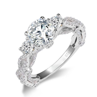 Round Cut White Sapphire Sterling Silver 3-Stone Twisted Engagement Ring