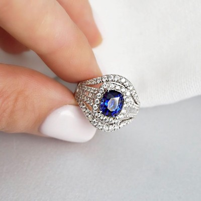 Vintage Cushion Cut Blue Sapphire Serling Silver Halo Engagement Ring